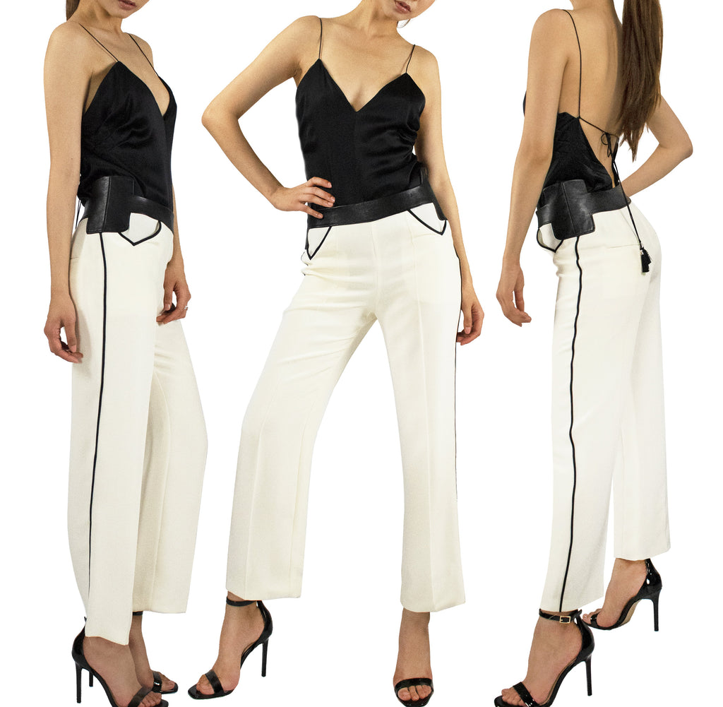 Sigmund Leather & Silk Straight Pant - KxLNewYork