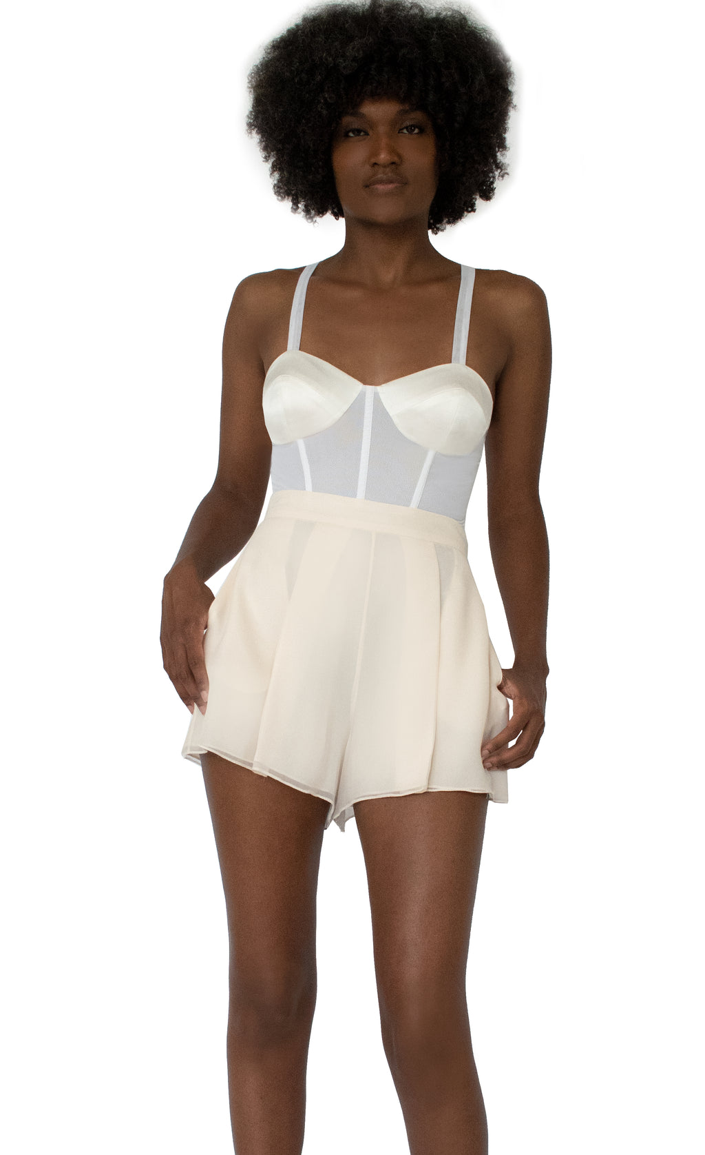 Senya Cropped Silk & Sheer Bodice - KxLNewYork