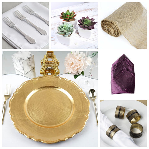 Baroque Forks, Succulents, Burlap Roll, Crinkled Taffeta Napkin, Scalloped-Edge Gold Plate, Antique Rings