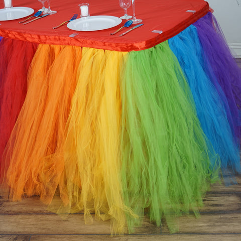rainbow tulle table skirt