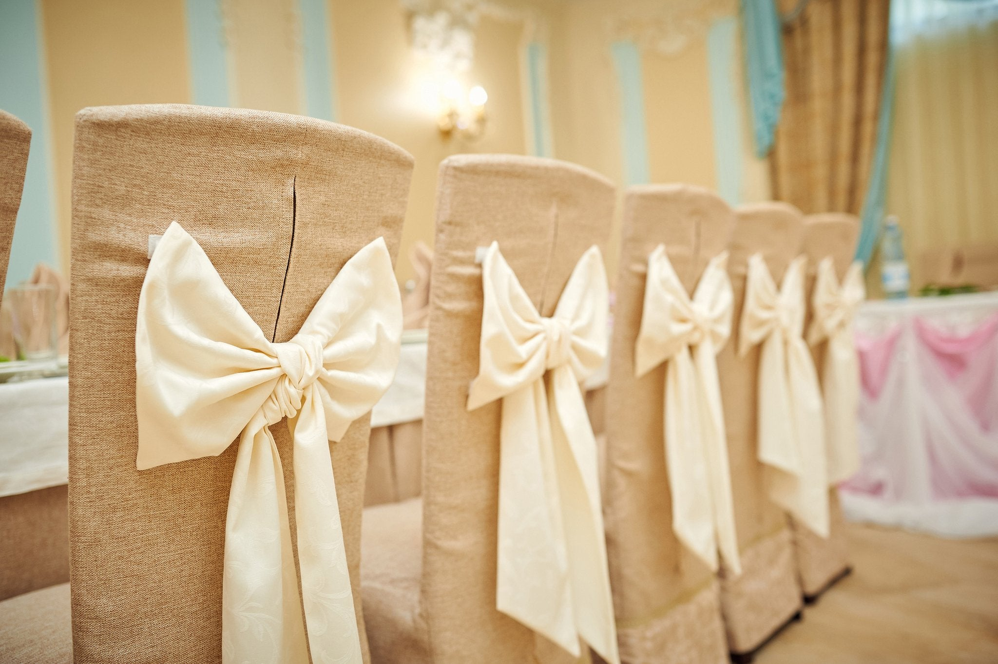 natural chair cover with chair sashes