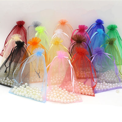 "10 Pack | 6""x9"" Pink Organza Favor Bags Party Drawstring Pouches"