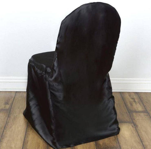 Premium Wholesale Black Lamour Banquet Chair Cover