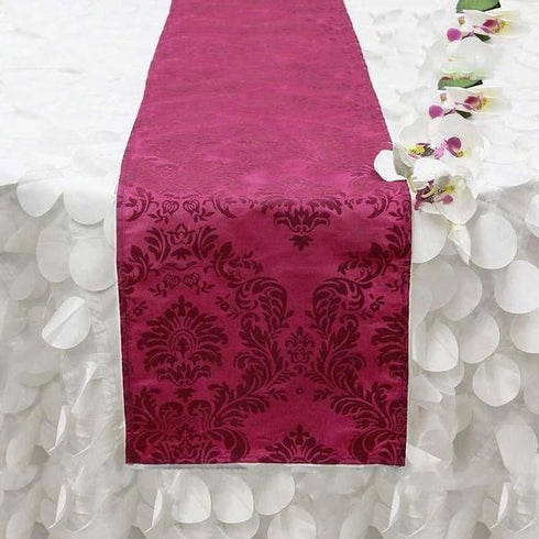 "12""x108"" Fushia/Fushia Taffeta Flocking Dual Tone Table Runner"