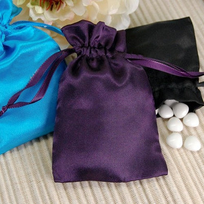 "12 Pack | 4""x6"" White Satin Drawstring Candy Bags"