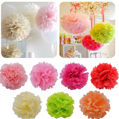 "16"" Paper Tissue Fluffy Pom Pom Flower Balls - 12pcs -  Teal"