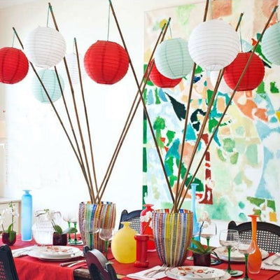 "12 Pack | 20"" Red Round Chinese Paper Lanterns"