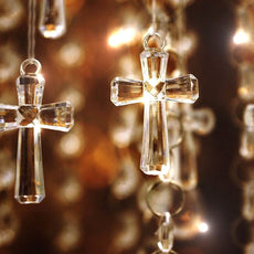 180 PCS Crosses Acrylic Crystal Garland Hanging Wedding Birthday Party Decoration