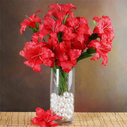 6 Bush 54 pcs Red Artificial Casablanca Lily Flowers