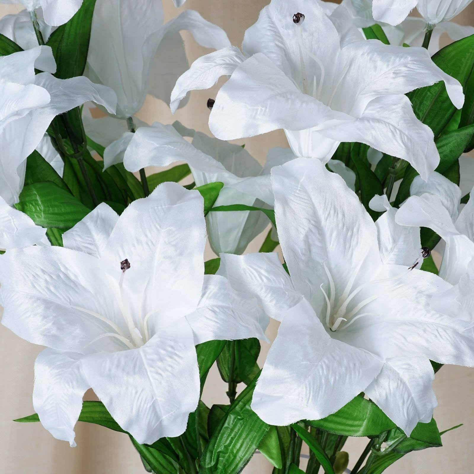 6 Bush 54 Pcs White Artificial Casa Blanca Lily Flower Bridal