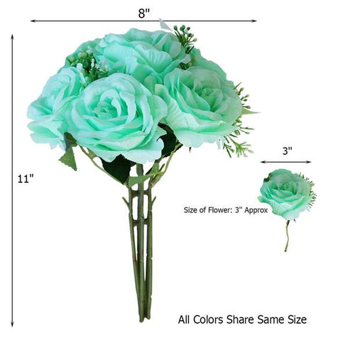 28 Pack | 4 Bushes Lime Artificial Open Rose Bouquet Flowers