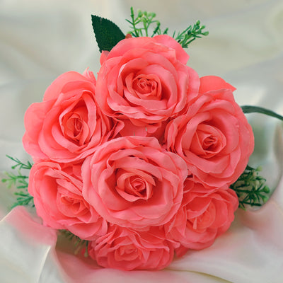 4 Pack Coral Artificial Open Rose Flowers Bridal Bouquet
