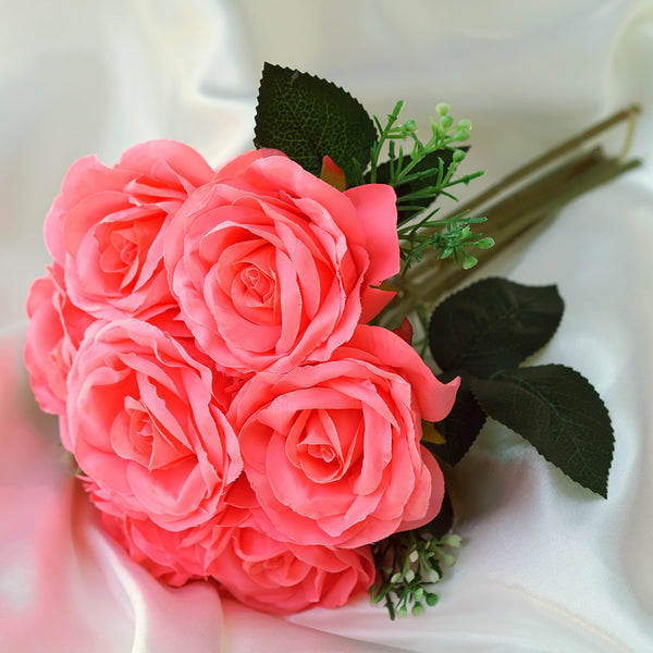 Silk flower bouquets affordable artificial flowers efavormart 4 pack coral artificial open rose flowers bridal bouquet mightylinksfo