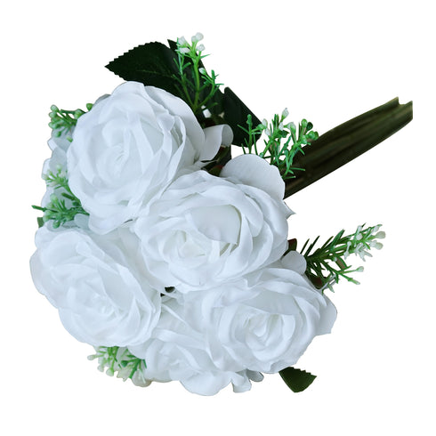 28 Pack | 4 Bushes White Artificial Open Rose Bouquet Flowers