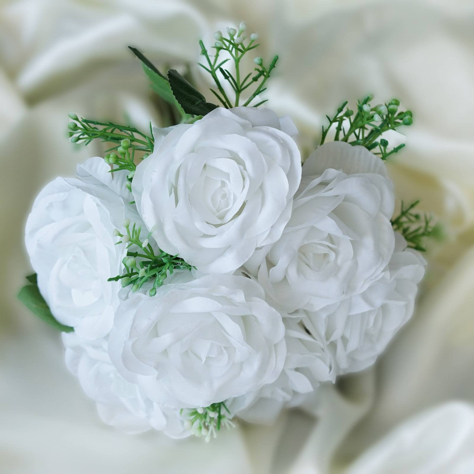4 Pack White Artificial Open Rose Flowers Bridal Bouquet Efavormart