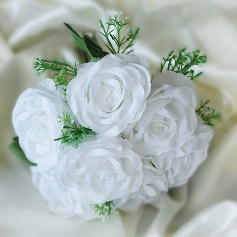 4 Realistic Looking Fabric Flower Bouquet - White