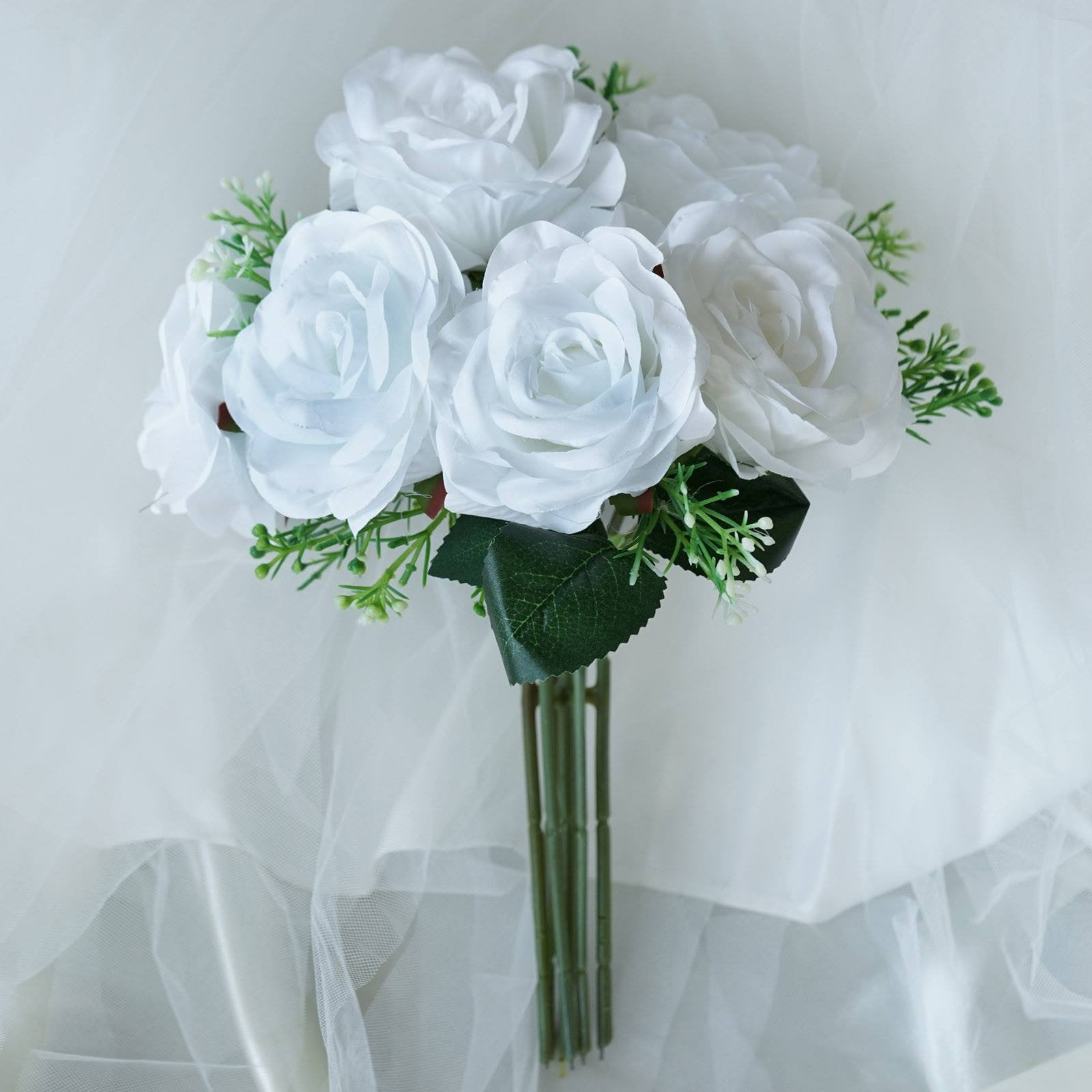 4 Bush 28 Pcs White Artificial Open Rose Flower Bridal Bouquet
