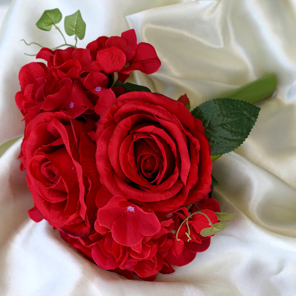 Real touch artificial red rose hydrangea flower wedding