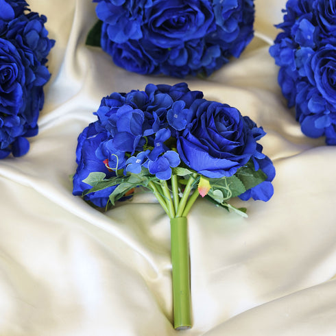 4 Pack Royal Blue Artificial Rose & Hydrangea Flower Bridal Bouquet