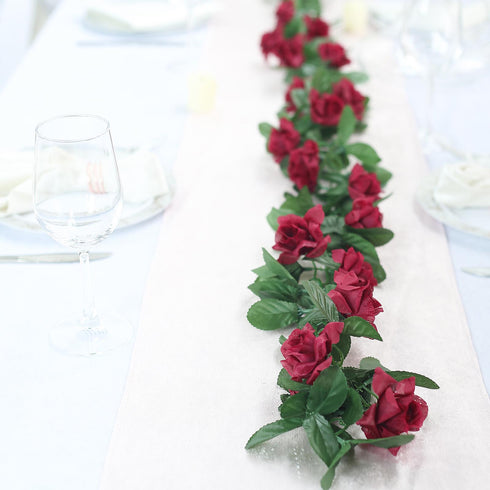 6 Ft Burgundy UV Protected Rose Chain Artificial Flower Garland
