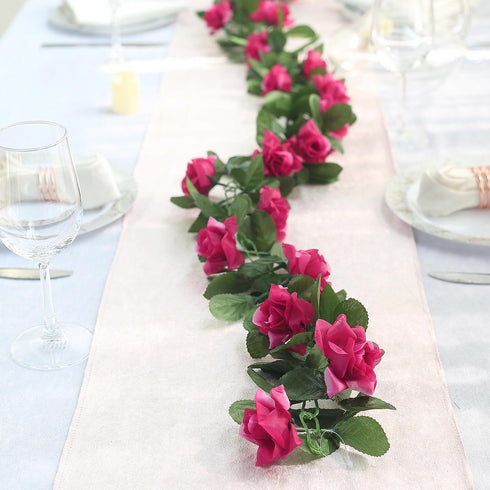 6 Ft Fushia Rose Chain Garland UV Protected Artificial Flower