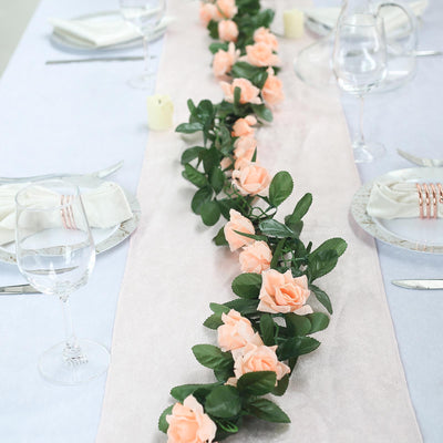6 Ft Peach UV Protected Rose Chain Artificial Flower Garland