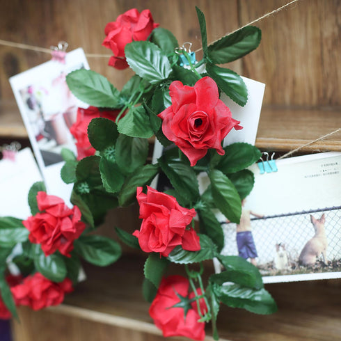 3D Chain Rose Garland - Red