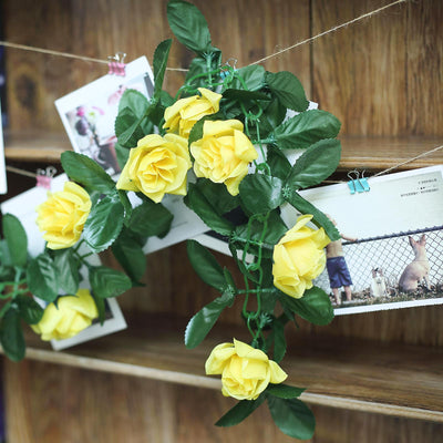 3D Chain Rose Garland - Yellow