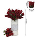 12 Bush 84 pcs Black/Red Artificial Velvet Rose Bud Flowers