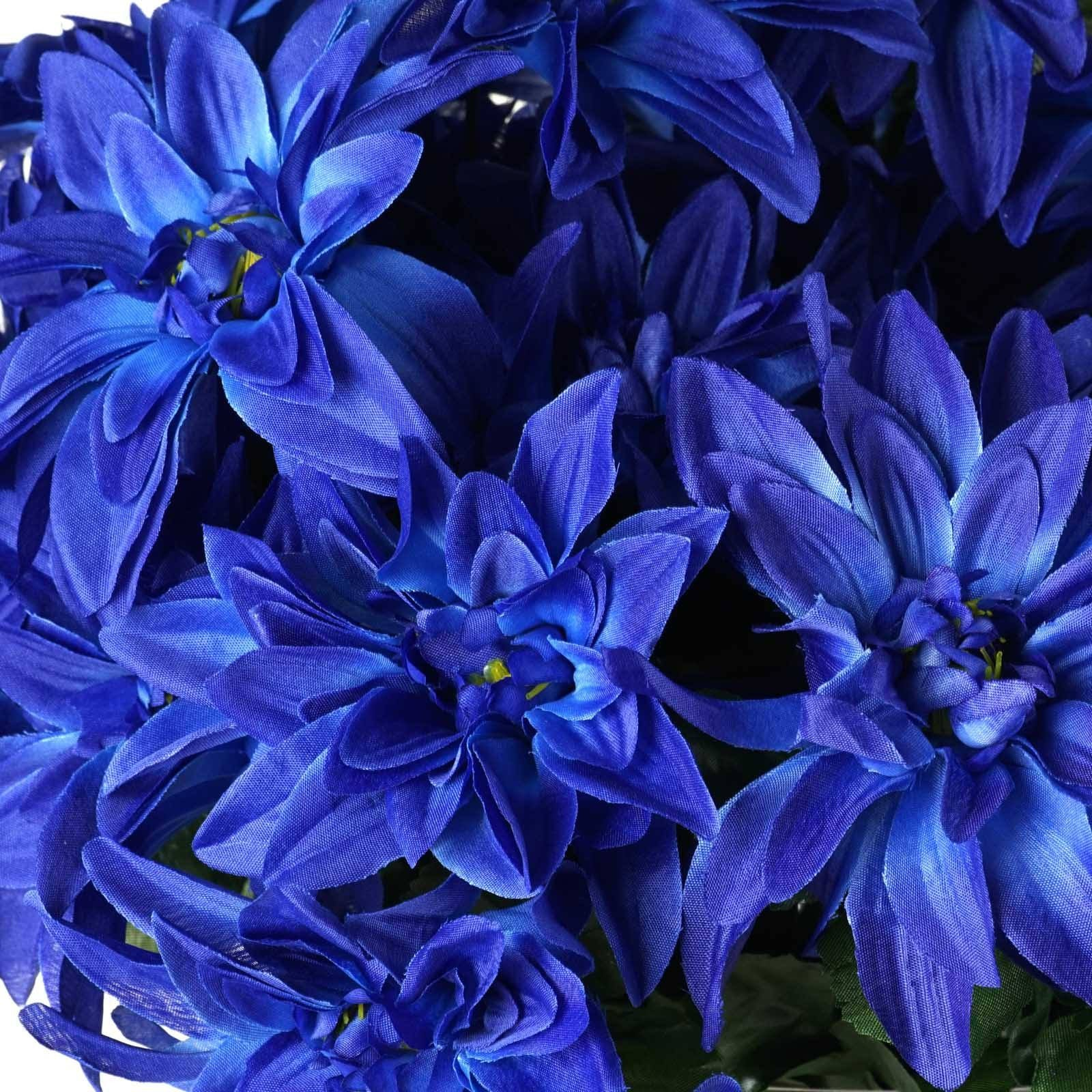4 Bush 56 Pcs Navy Blue Artificial Silk Dahlia Flower Bushes Wedding
