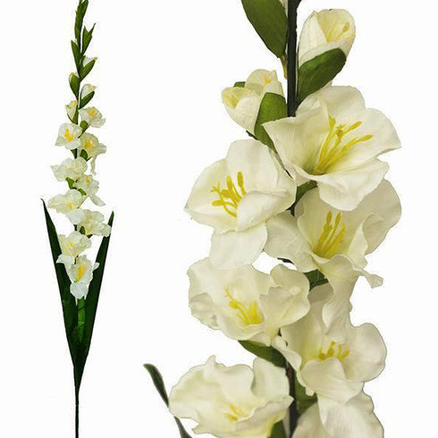 6 Artificial Gladiolus Stems - Ivory