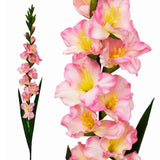 6 Artificial Gladiolus Stems - Pink