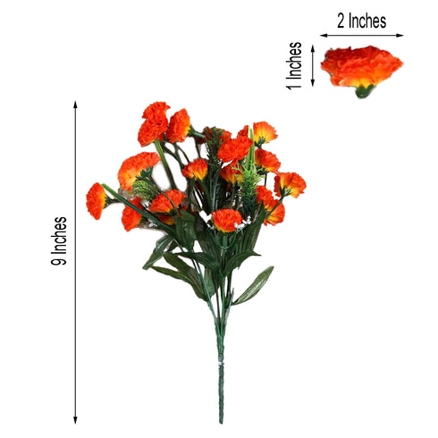 12 Bush 252 Pcs Orange Artificial Mini Carnation Flowers