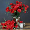 12 Bush 252 Pcs Red Artificial Mini Carnation Flowers