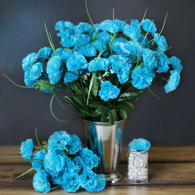 12 Bush 252 Pcs Turquoise Artificial Mini Carnation Flowers