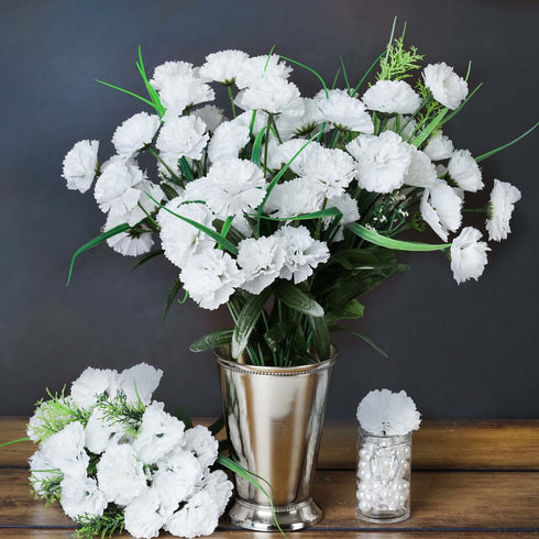 12 Bush 252 Pcs White Artificial Mini Carnation Flowers