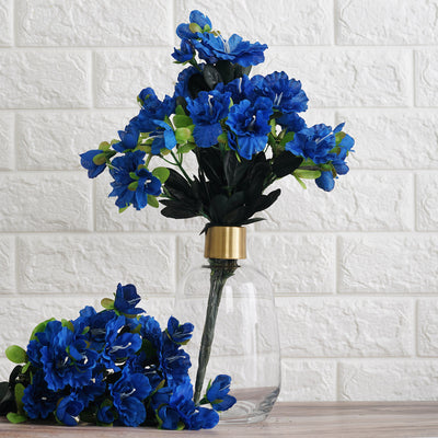 4 Bush 120 Pcs Royal Blue Artificial Silk Gardenias Flowers