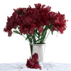 12 Bush 60 Pcs Burgundy Artificial Silk Iris Flowers