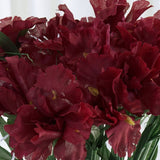 60 Silk Iris Flowers - Burgundy