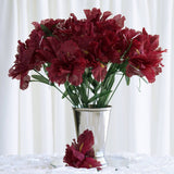 60 Artificial Silk Iris Flowers - Burgundy