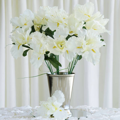 60 Artificial Silk Iris Flowers - Cream