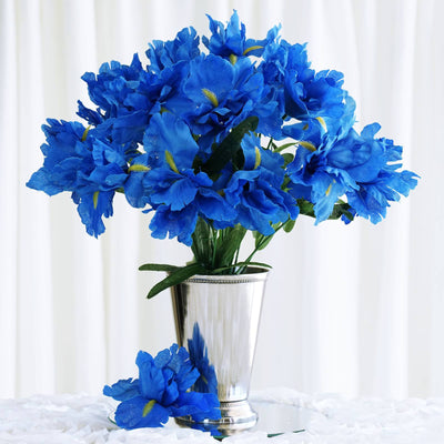 60 Artificial Silk Iris Flowers - New Blue