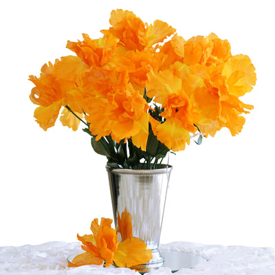 12 Bush 60 Pcs Orange Artificial Silk Iris Flowers