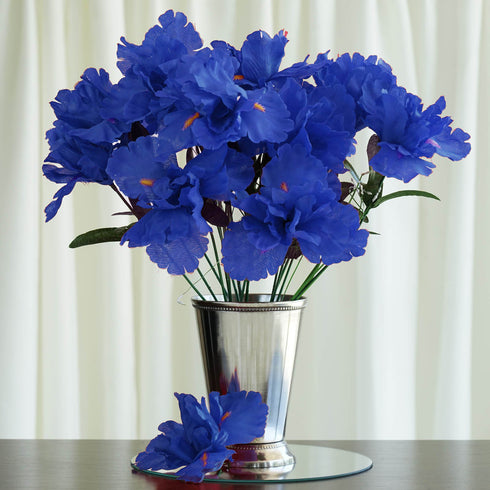 12 Bush 60 Pcs Royal Blue Artificial Silk Iris Flowers