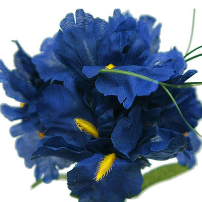 60 Artificial Silk Iris Flowers - Royal Blue