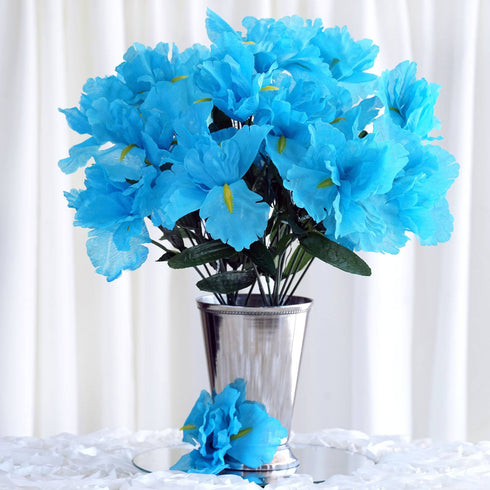 60 Artificial Silk Iris Flowers - Turquoise