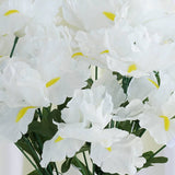 60 Silk Iris Flowers - White
