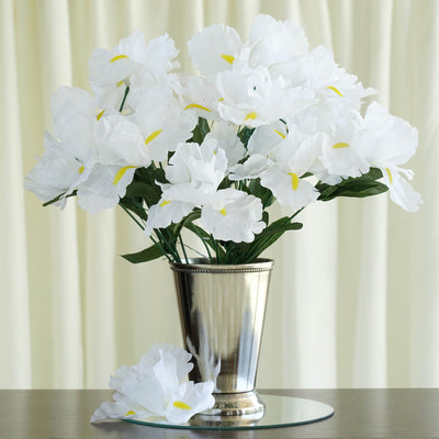 12 Bush 60 Pcs White Artificial Silk Iris Flowers