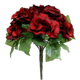 4 Pack Black/Red Artificial Velvet Rose Flower Bridal Bouquet