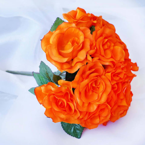 4 Velvet Rose Bouquet - Orange